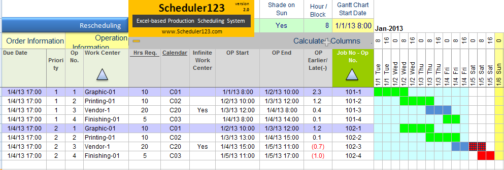Production Schedule Template in Google Sheets